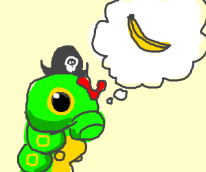 Pirate Caterpie dreams of banana