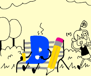 Site mascot sits in park with yellow thermos