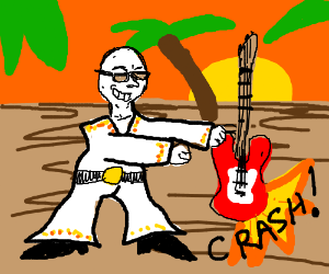 Bald elvis in Hawaii smashes electric guitar