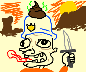 Crazy man with knife has poop on his helmet