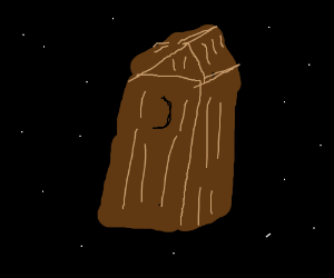 Wooden outhouse hovering... in SPAAACE!