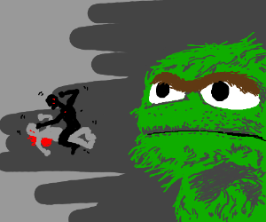Oscar the grouch watches homeless guys fight.