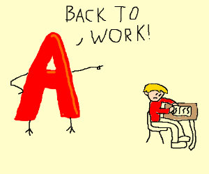 The letter A forces a blonde child to write