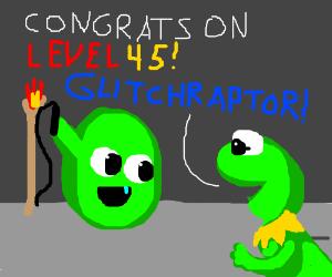 Congrats on Level 45, Glitchraptor, sez Kermit