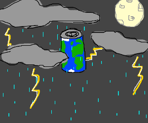 A Pop-can shaped Earth in a Nightly Rainstorm.
