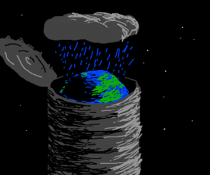 Can of earth in the rain