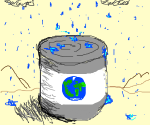 raining on world in a can