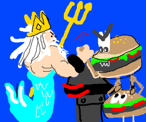 king triten vs HAMBURGERS!!