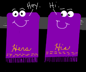 Two purple bath towels having a conversation.
