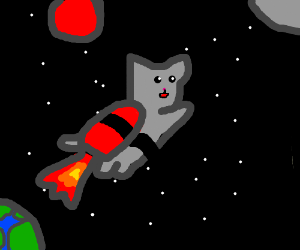 jetpack cat going to space :3