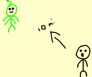 Man sees aliens landing 10 miles away.