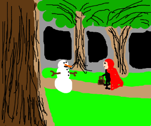 Red Riding Hood in a forest with a snowman