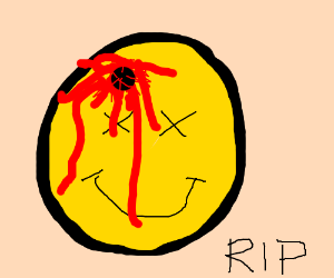 Yellow circle shot in the head, but died happy