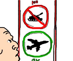 No Tank Zone. Planes are OK