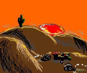 Dead clown and bags of glitter left in desert