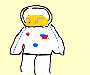 man made of butter wearing a spacesuit