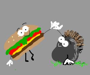 Hamburger and a mohawk rock high five