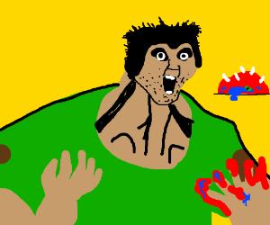 Doomguy fighting a Cacodemon