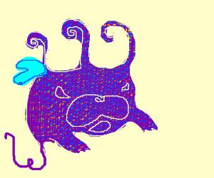 Blue and purple glitter monster
