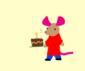 A delicious cake from a clothed mouse