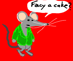 Mouse in green suit asks if you want cake