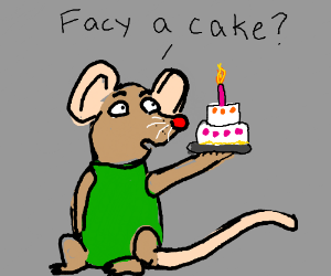 """Mouse in green asks """"facy a cake""""?"""