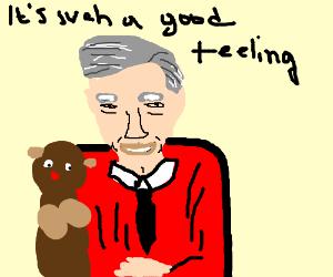 """Mr. Rogers sings """"It's such a good feeling"""""""