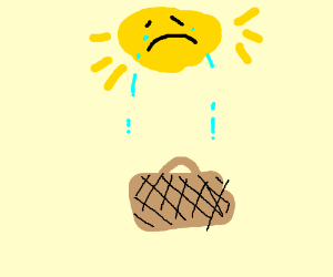 Sun cries over a picnic basket.