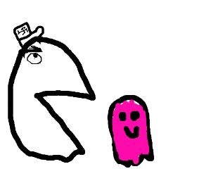 Fascist Pac-man devours  pink ghosts
