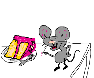 mouse is in love with a slice of cake
