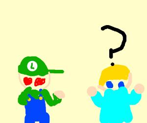 Luigi looking dreamily at Rosalina