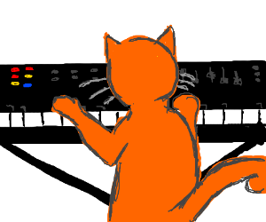 Cat plays keyboard.