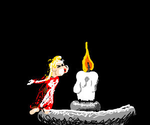 Tiny woman tries to blow out a candle