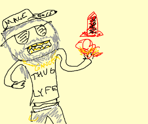 Gangsta wizard fires red rocket magic