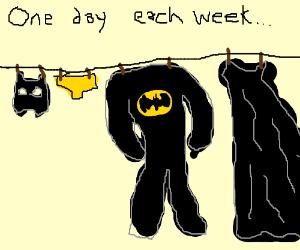 Batman on laundry day.