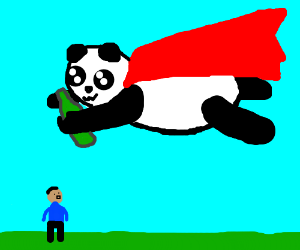 Flying panda with a green bottle