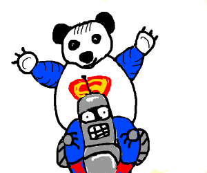 Superman panda on a bender