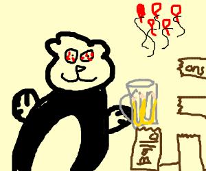 panda parties hard, destroys balloon stand