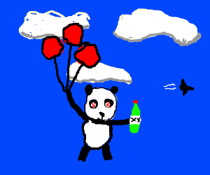 Panda gets high and drunk, buys balloons