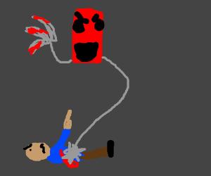 Bleeding man hates floating red rectangle