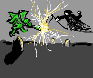 Chupacabra & Grim Reaper face off at graveyard