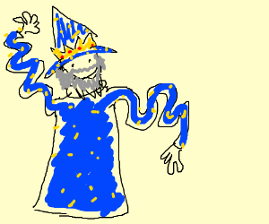 Yellow wizard king with wavy arms