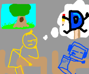 bored man thinks about drawception popsicles