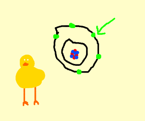 Electron and a small chicken (chick)