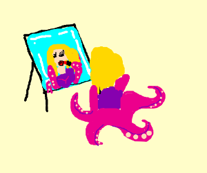Tentacled woman putting on make-up.