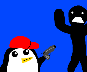 gunter with a red hat holding a gun on a guy