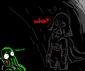 Darth Vader finds a green Zoidberg in the dark