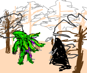 Cthulu and the Grim Reaper clash at a cemetary