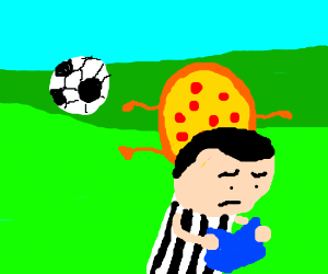 WHO SAID A PIZZA CANT PLAY SOCCER!!!!!!!!!!!!!