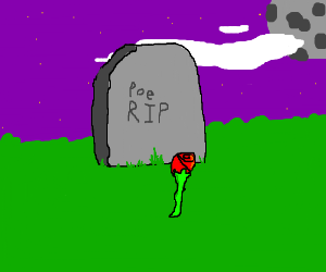 3D tombstone and rose